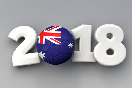 2018 Australia flag football background. 3D Rendering