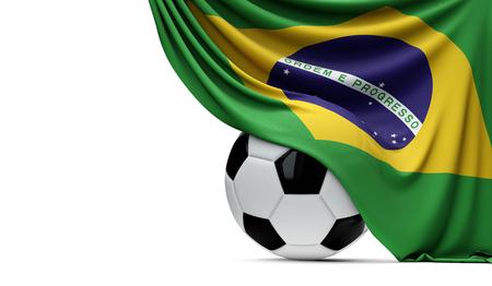 Brazil national flag draped over a soccer football ball. 3D Rendering