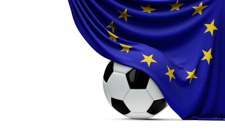 European Union national flag draped over a soccer football ball. 3D Rendering