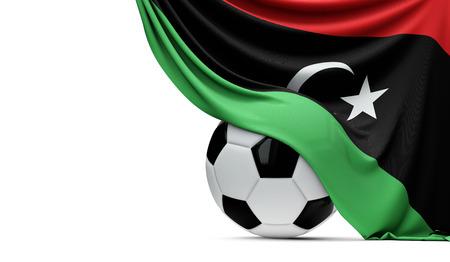 Libya national flag draped over a soccer football ball. 3D Rendering Stock Photo