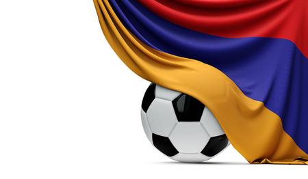 Armenia national flag draped over a soccer football ball. 3D Rendering