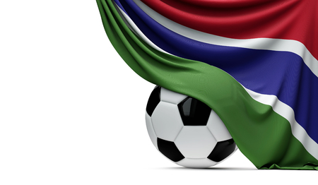Gambia national flag draped over a soccer football ball. 3D Rendering
