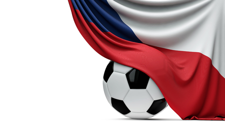 Czech Republic national flag draped over a soccer football ball. 3D Rendering Stockfoto