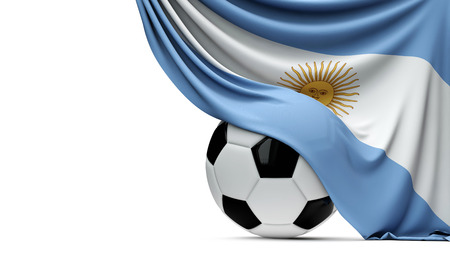 Argentinia national flag draped over a soccer football ball. 3D Rendering Stock Photo