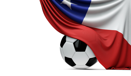 Chile national flag draped over a soccer football ball. 3D Rendering