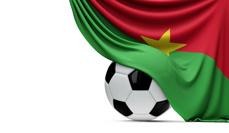 Burkina Faso national flag draped over a soccer football ball. 3D Rendering Stock Photo