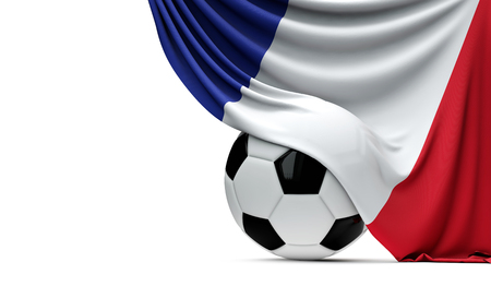 France national flag draped over a soccer football ball. 3D Rendering