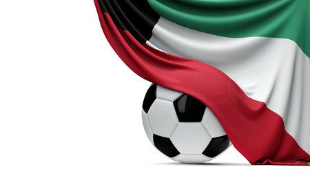 Kuwait national flag draped over a soccer football ball. 3D Rendering