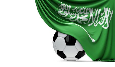 Bandiera nazionale dell'Arabia Saudita drappeggiata sopra un pallone da calcio calcio. Rendering 3D