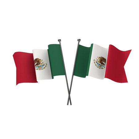Mexico flags crossed isolated on a white background. 3D Rendering