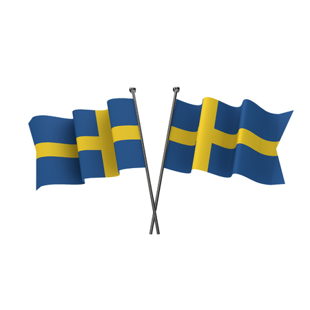 Sweden flags crossed isolated on a white background. 3D Rendering Stock Photo