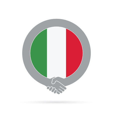 Italy flag handshake icon. agreement, welcome, cooperation concept Vector illustration.