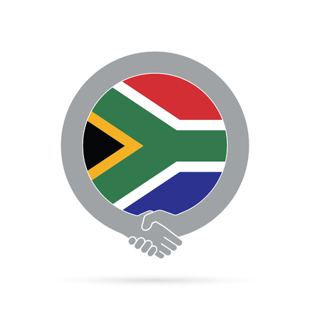 South Africa flag handshake icon. agreement, welcome, cooperation concept Vector illustration. Illustration