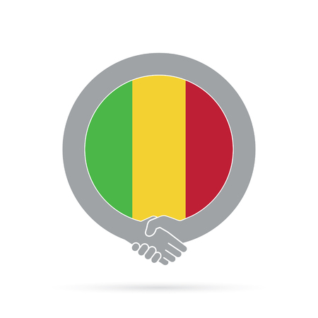 Mali flag handshake icon. agreement, welcome, cooperation concept Vector illustration.