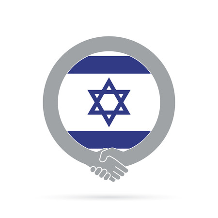 Israel flag handshake icon. agreement, welcome, cooperation concept Vector illustration.