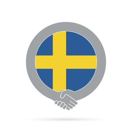Sweden flag handshake icon. agreement, welcome, cooperation concept Vector illustration. Illustration