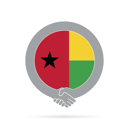 Guinea Bissau flag handshake icon. agreement, welcome, cooperation concept