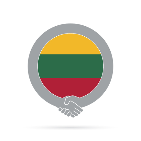 Lithuania flag handshake icon.