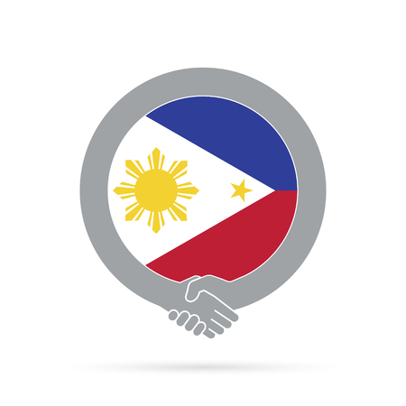 Philippines flag handshake icon. agreement, welcome, cooperation concept Vector illustration. Illustration