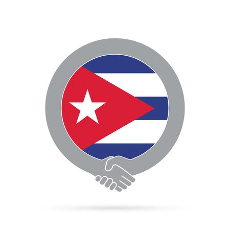 Cuba flag handshake icon.