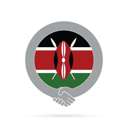 Kenya flag handshake icon.
