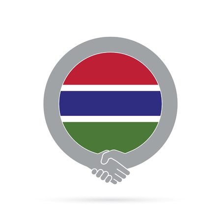 Gambia flag handshake icon. agreement, welcome, cooperation concept Vector illustration.