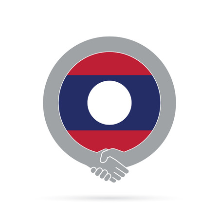 Laos flag handshake icon. agreement, welcome, cooperation concept Vector illustration. Illustration