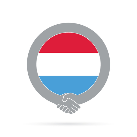 Luxembourg flag handshake icon. agreement, welcome, cooperation concept Vector illustration. Illustration