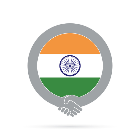 India flag handshake icon. agreement, welcome, cooperation concept