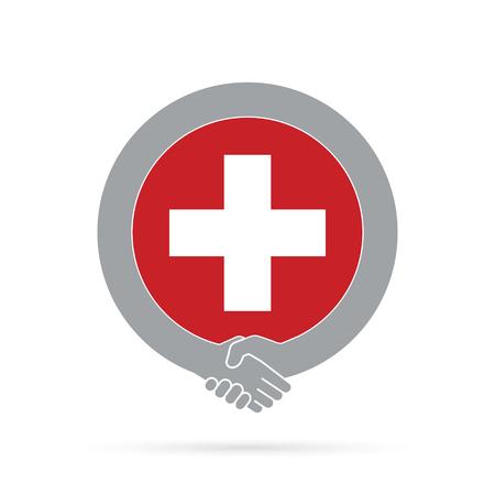 Switzerland flag handshake icon. agreement, welcome, cooperation concept Vector illustration.