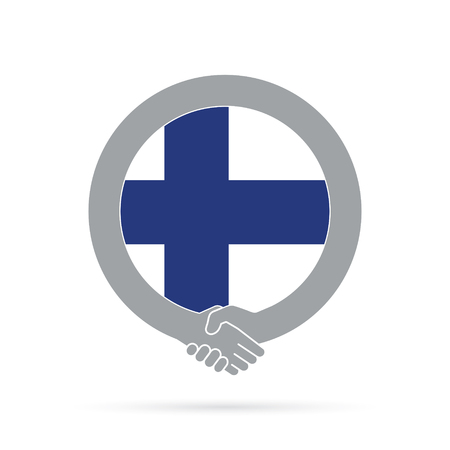 Finland flag handshake icon. agreement, welcome, cooperation concept Vector illustration. Illustration