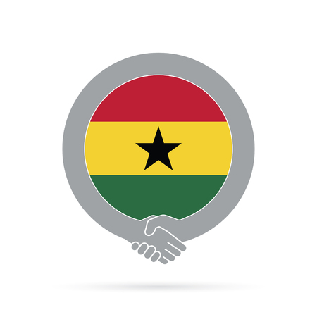 Ghana flag handshake icon. agreement, welcome, cooperation concept