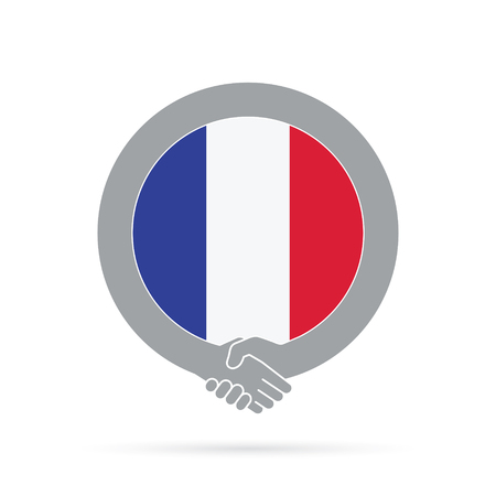 France flag handshake icon. agreement, welcome, cooperation concept Stock Photo