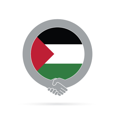 Palestine flag handshake icon. agreement, welcome, cooperation concept Stock Photo