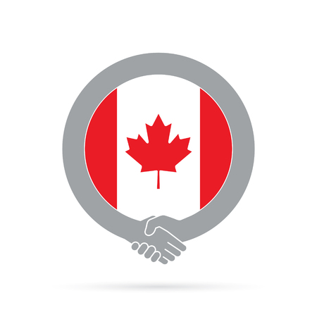 Canada flag handshake icon. agreement, welcome, cooperation concept