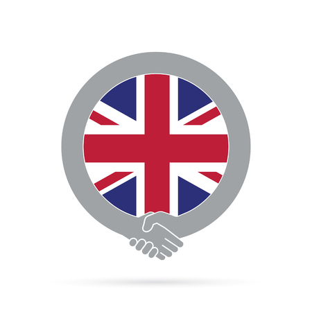 Great Britain flag handshake icon. agreement, welcome, cooperation concept