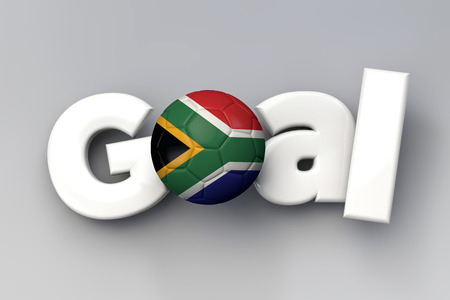 Football goal with a South Africa flag soccer ball. 3D Rendering
