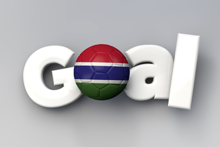 Football goal with a Gambia flag soccer ball. 3D Rendering Stock Photo