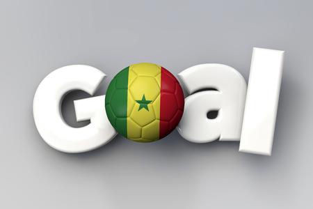 Football goal with a Senegal flag soccer ball. 3D Rendering Фото со стока