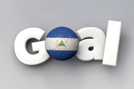 Football goal with a Nicaragua flag soccer ball. 3D Rendering Фото со стока