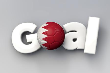 Football goal with a Bahrain flag soccer ball. 3D Rendering