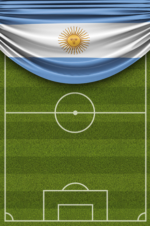 Argentina country flag draped over a football soccer pitch. 3D Rendering