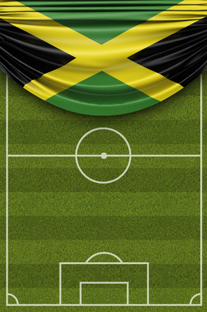 Jamaica country flag draped over a football soccer pitch. 3D Rendering Stock Photo - 97862459