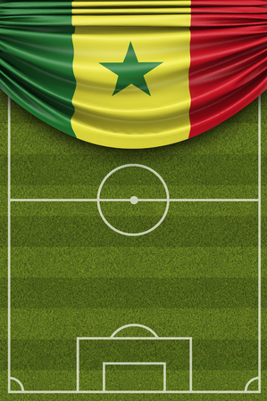 Senegal country flag draped over a football soccer pitch. 3D Rendering