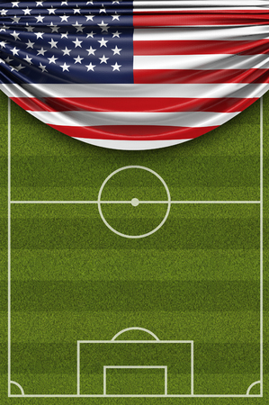United States country flag draped over a football soccer pitch. 3D Rendering Stock Photo - 97862483