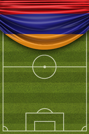 Armenia country flag draped over a football soccer pitch. 3D Rendering 写真素材