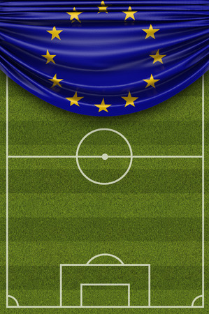 European Union country flag draped over a football soccer pitch. 3D Rendering