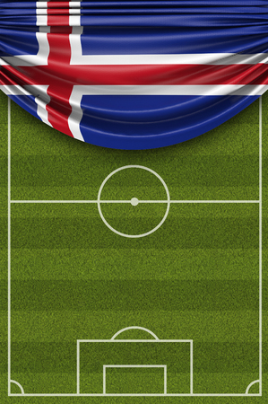 Iceland country flag draped over a football soccer pitch. 3D Rendering 写真素材