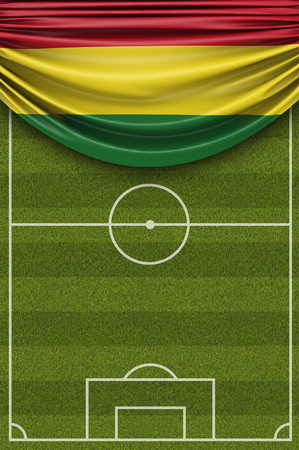 Bolivia country flag draped over a football soccer pitch. 3D Rendering