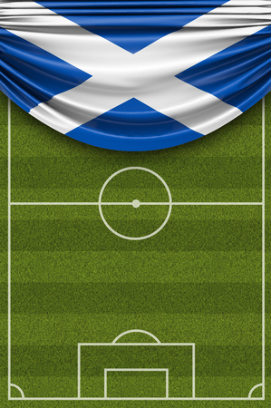 Scotland country flag draped over a football soccer pitch. 3D Rendering 写真素材
